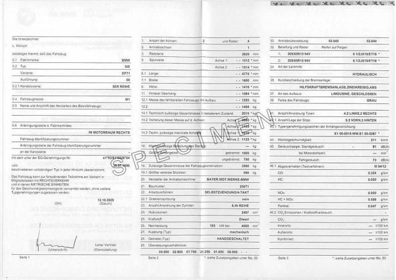 Exemple certificat de conformité Bmw 503